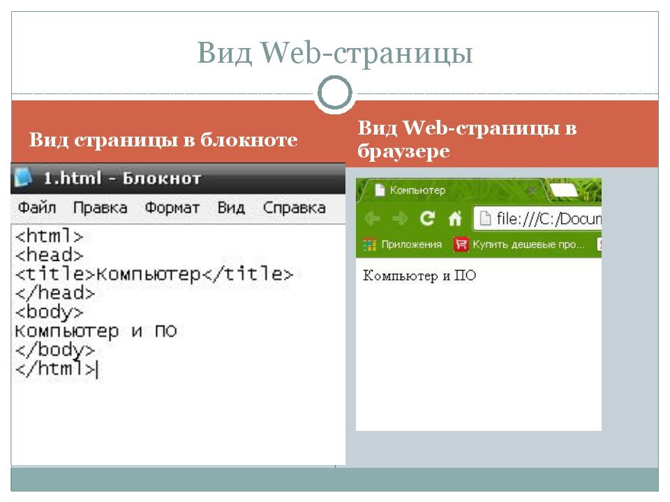 Вид страницы в блокноте Вид Web-страницы в браузере Вид Web-страницы