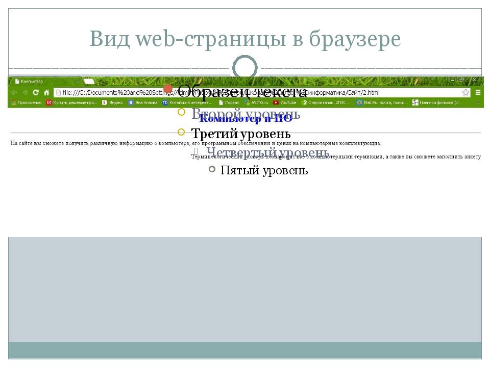 Вид web-страницы в браузере