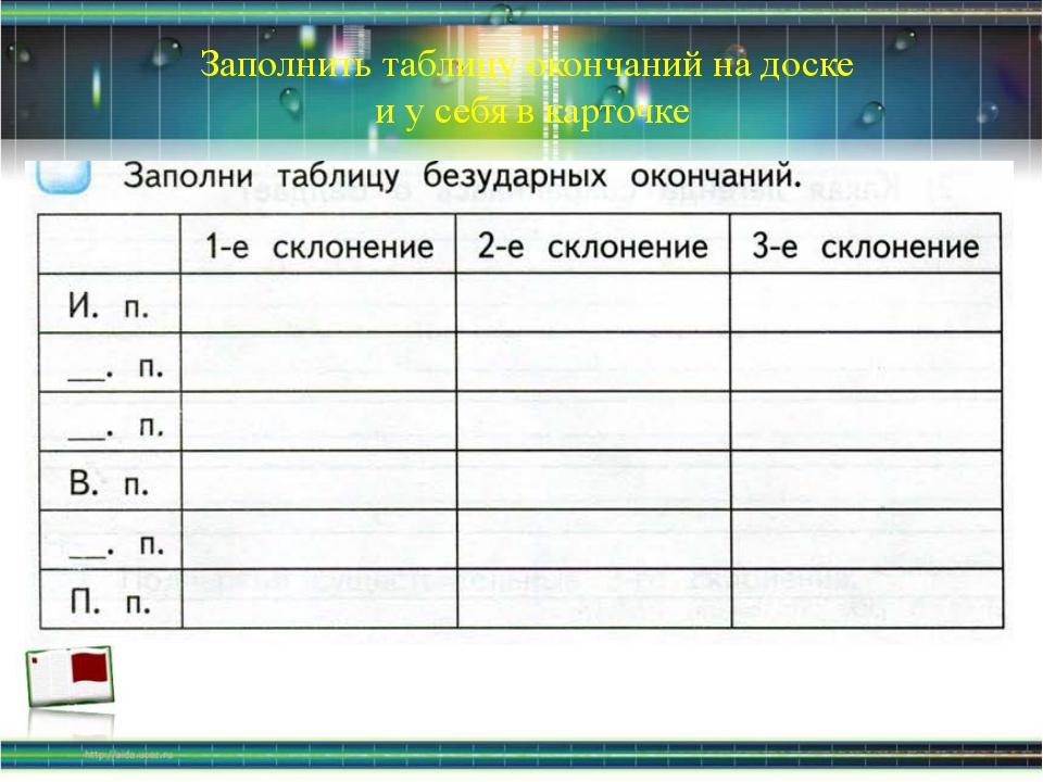 Заполнить таблицу окончаний на доске и у себя в карточке