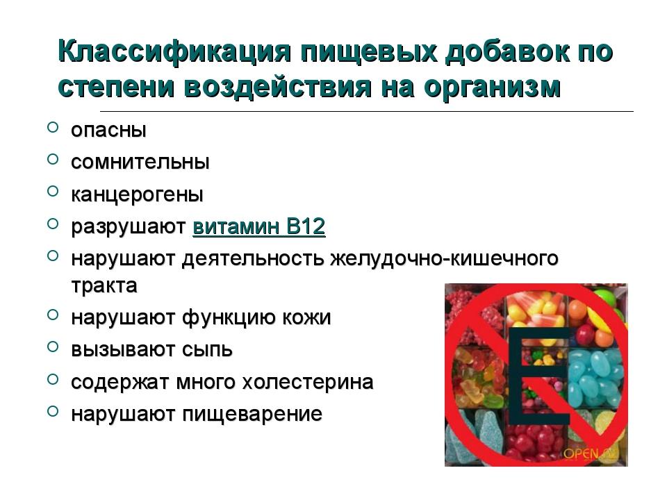 Классификация пищевых добавок по степени воздействия на организм опасны сомни...