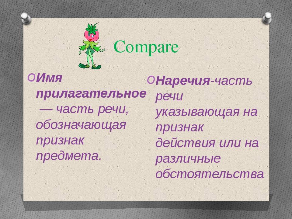 Compare Имя прилагательное— часть речи, обозначающая признак предмета. Нареч...