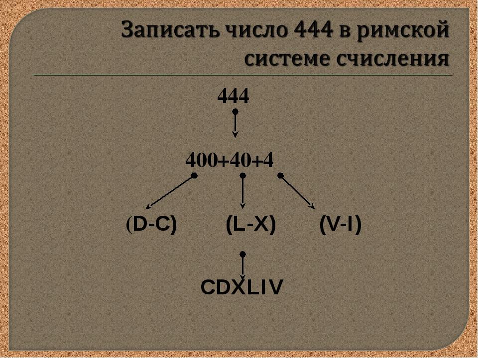 444 400+40+4 (D-C) (L-X) (V-I) CDXLIV