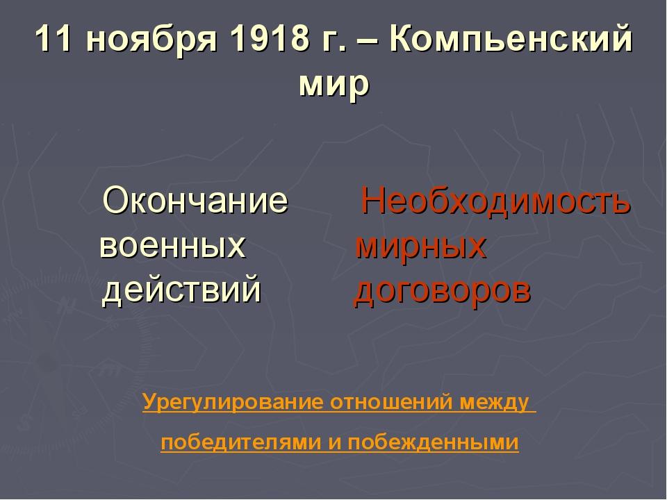 11 ноября 1918 г. – Компьенский мир Окончание военных действий Необходимость...