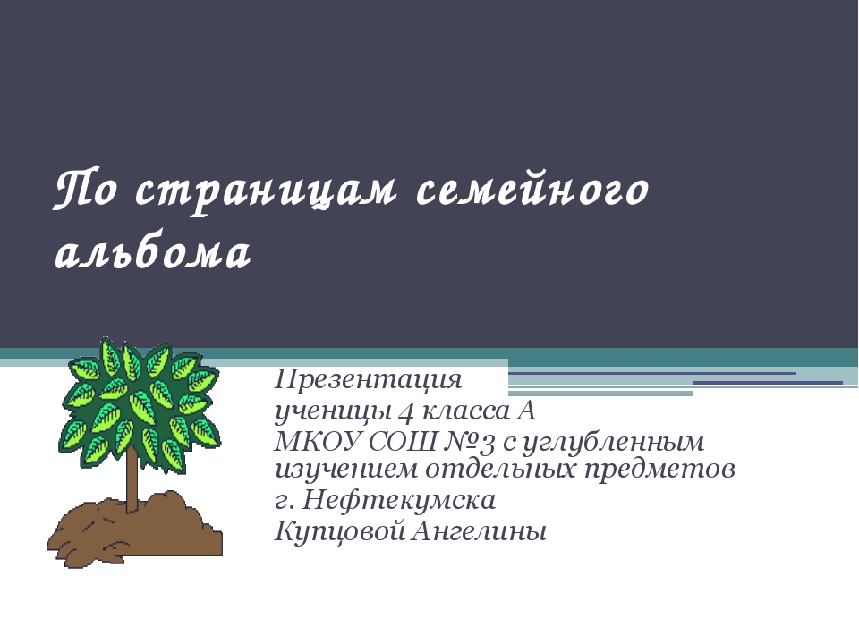 По страницам семейного альбома Презентация ученицы 4 класса А МКОУ СОШ №3...