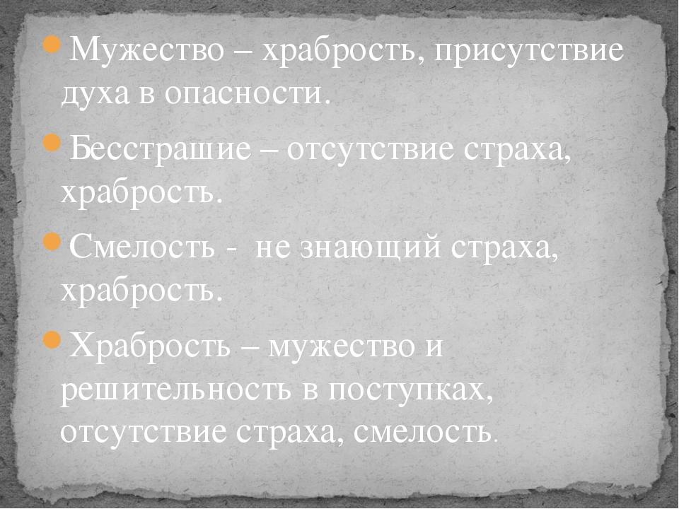 Мужество – храбрость, присутствие духа в опасности. Бесстрашие – отсутствие с...