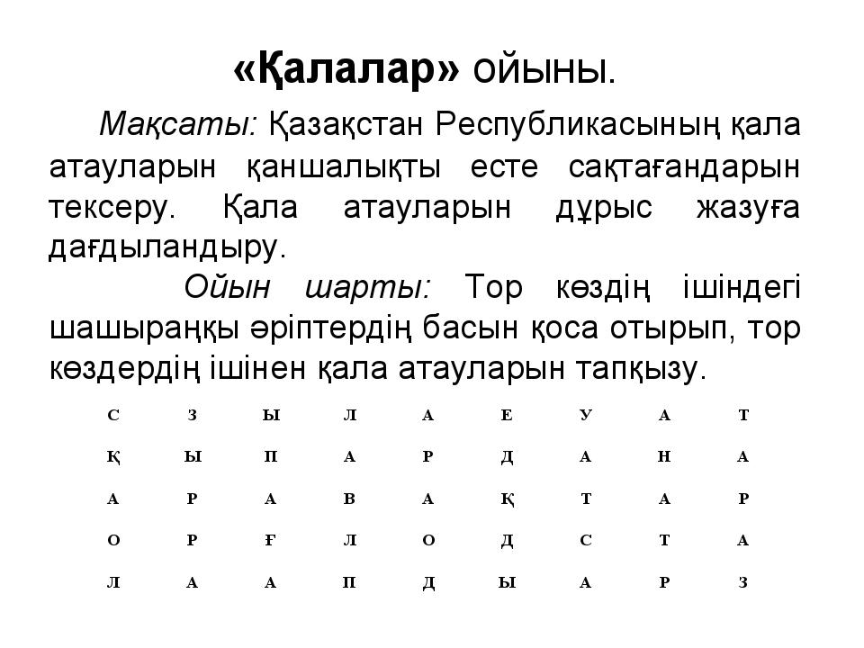 «Қалалар» ойыны. Мақсаты: Қазақстан Республикасының қала атауларын қаншалықты...