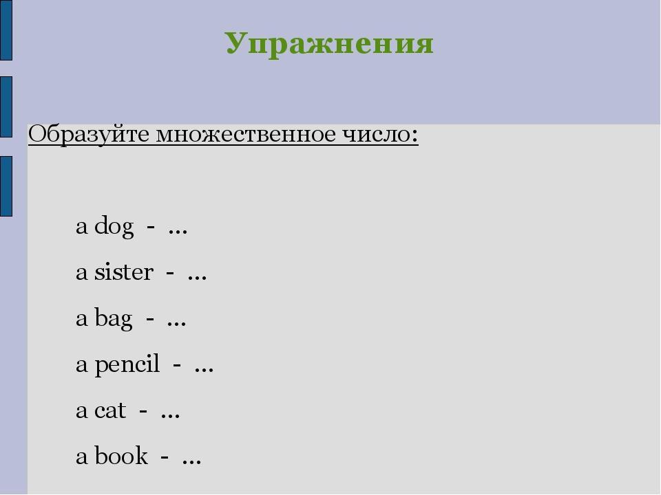 Упражнения Образуйте множественное число: a dog - … a sister - … a bag - … a...