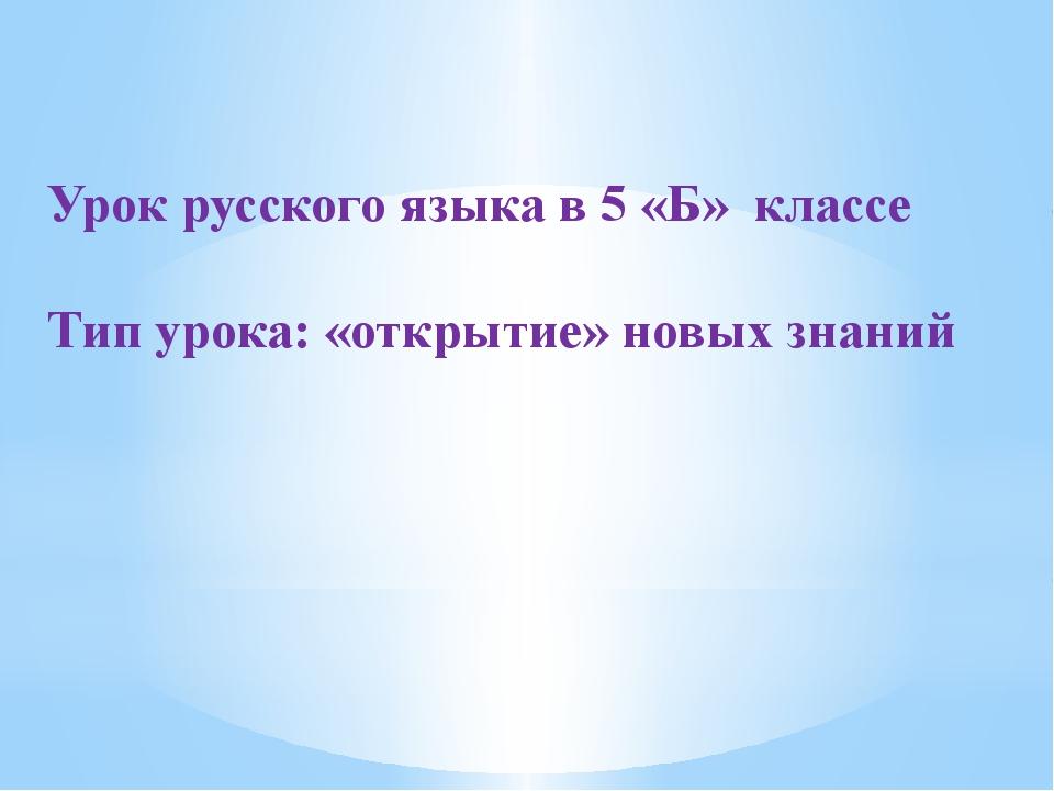 Урок русского языка в 5 «Б» классе Тип урока: «открытие» новых знаний