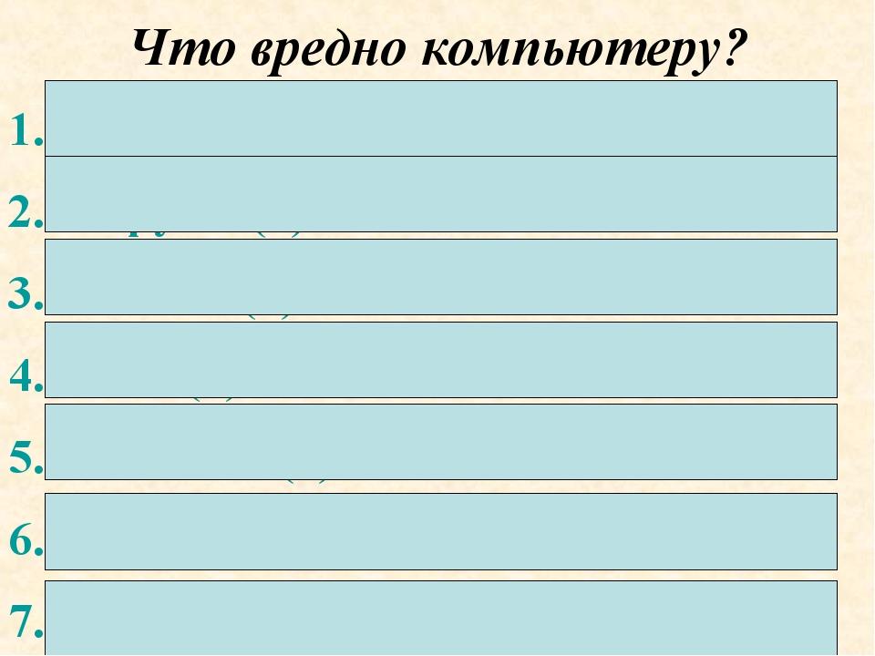 Что вредно компьютеру? Пыль (11) Вирусы (7) Чистка (4) Вода (4) Поломка (1) З...