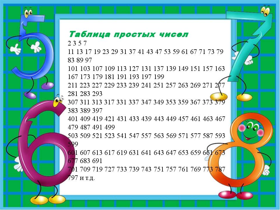 Таблица простых чисел 2 3 5 7 11 13 17 19 23 29 31 37 41 43 47 53 59 61 67 7...