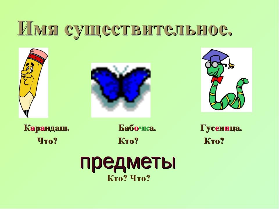 предметы Карандаш. Бабочка. Гусеница. Что? Кто? Кто? Кто? Что? Имя существите...
