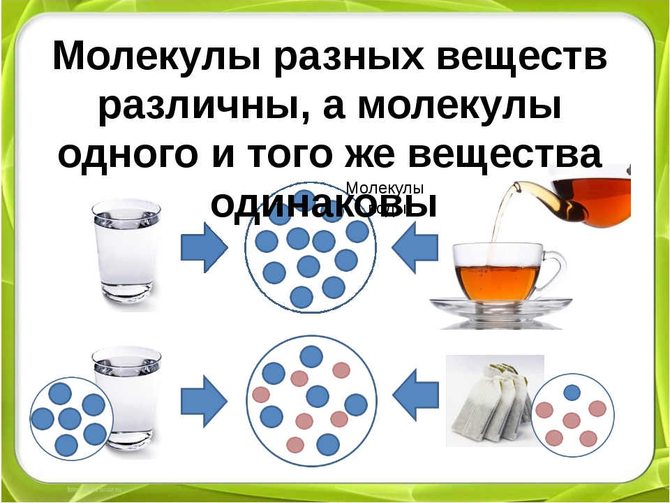 Молекулы воды Молекулы разных веществ различны, а молекулы одного и того же...