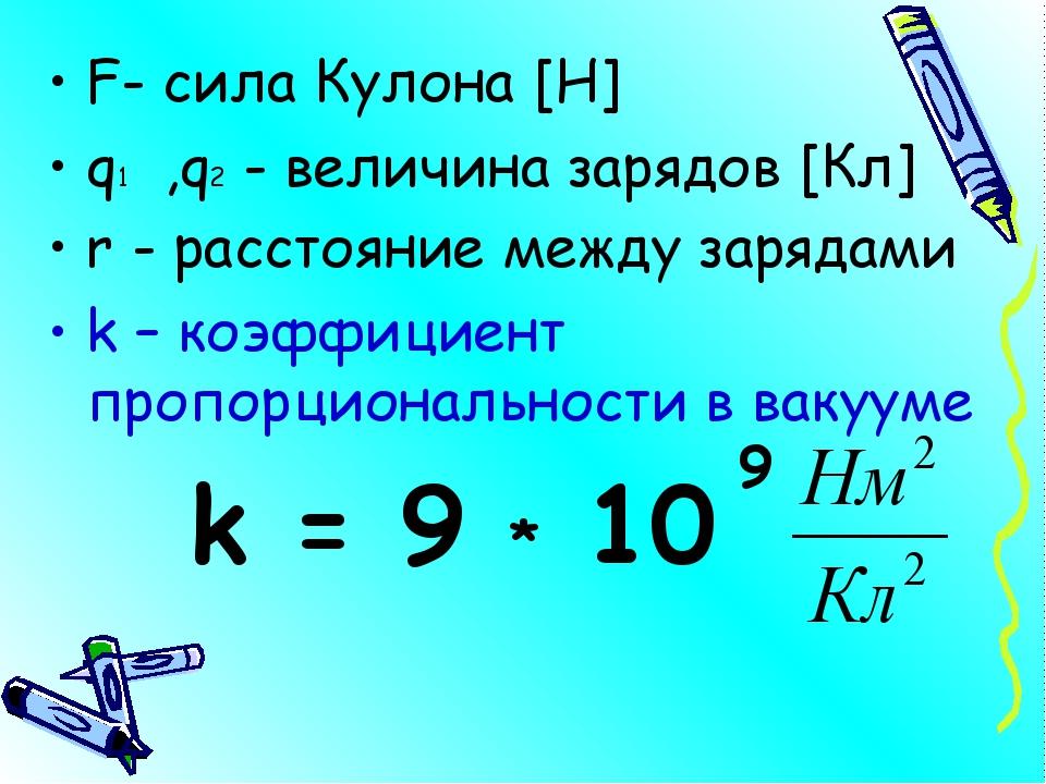 F- сила Кулона [Н] q1 ,q2 - величина зарядов [Кл] r - расстояние между заряда...