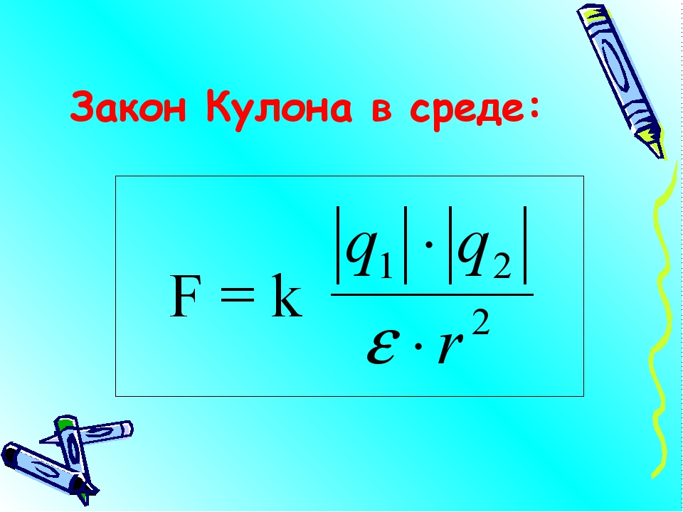 Закон Кулона в среде: F = k