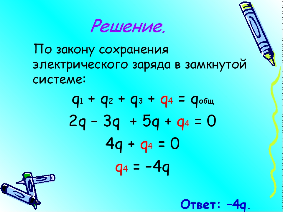 Решение. По закону сохранения электрического заряда в замкнутой системе: q1 +...
