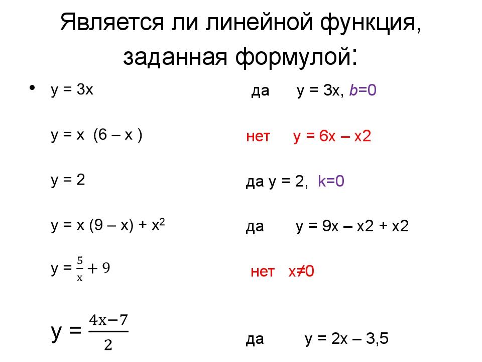 Является ли линейной функция, заданная формулой: да y = 3x, b=0 нет y = 6x –...