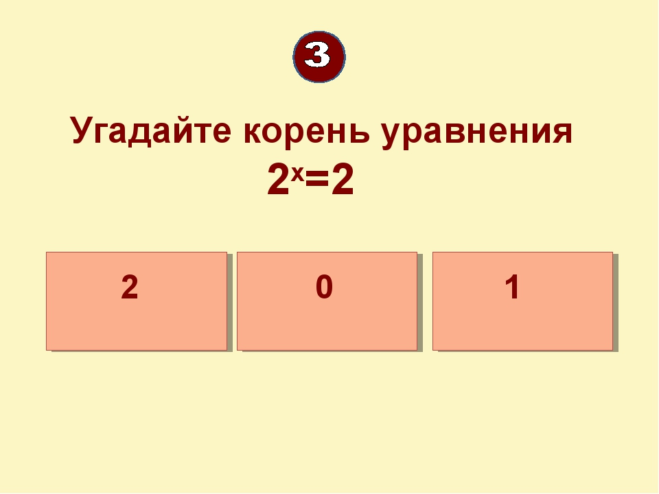 Угадайте корень уравнения 2х=2 1 2 0
