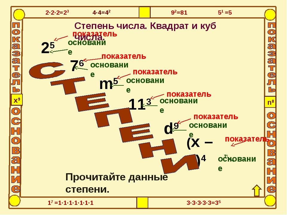 25 76 113 d9 m5 (x – 2)4 показатель основание показатель показатель показател...