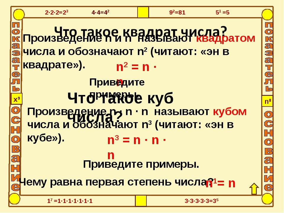 Что такое куб числа? Произведение n и n называют квадратом числа и обозначают...