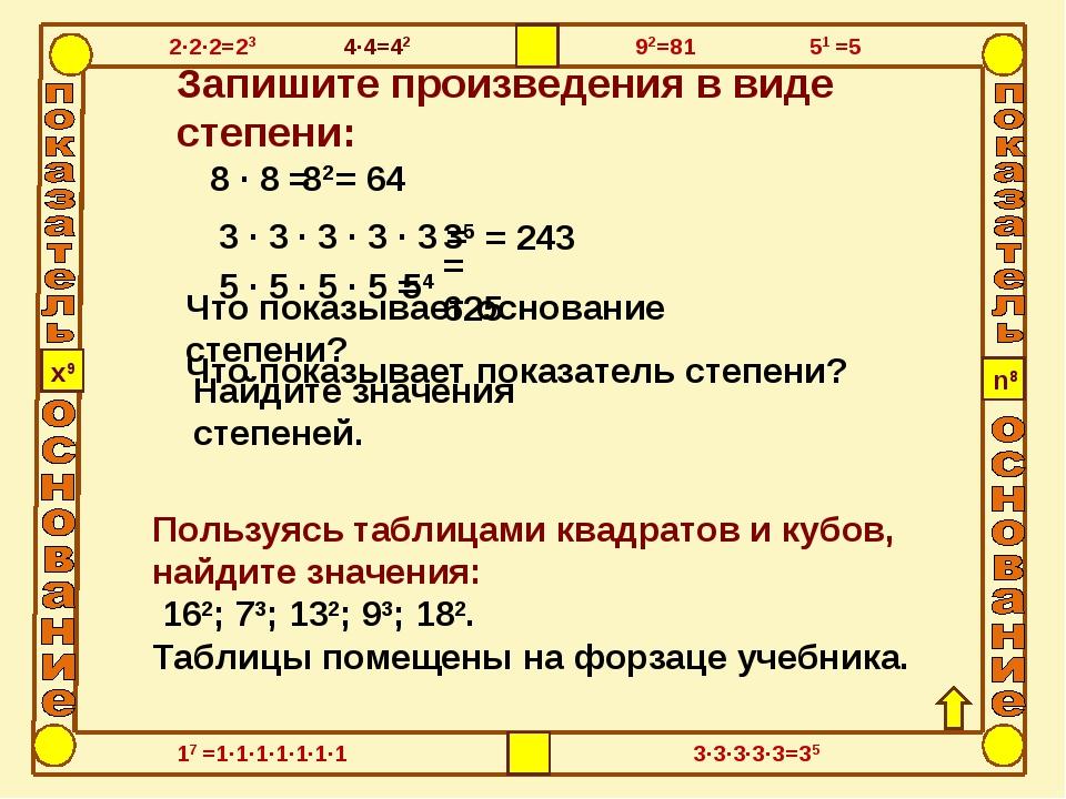 Пользуясь таблицами квадратов и кубов, найдите значения: 162; 73; 132; 93; 18...