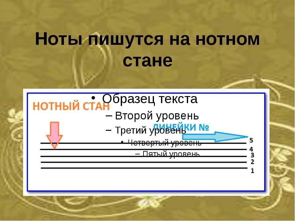 Ноты пишутся на нотном стане
