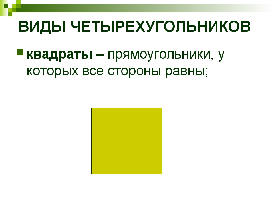ВИДЫ ЧЕТЫРЕХУГОЛЬНИКОВ квадраты – прямоугольники, у которых все стороны равны;