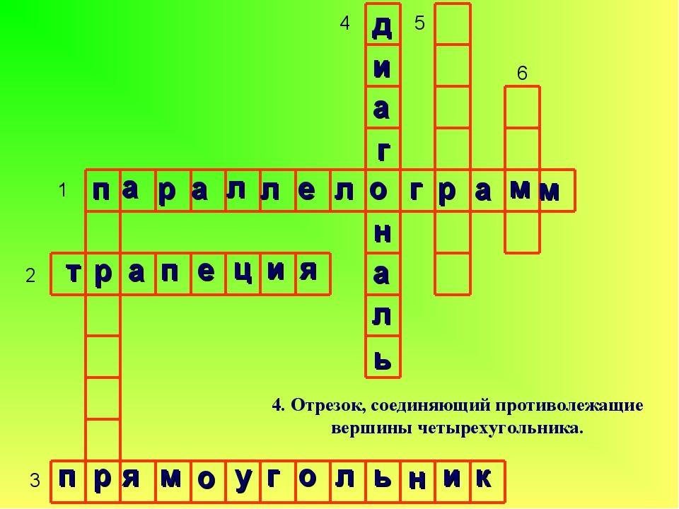 1 2 3 4 5 6 4. Отрезок, соединяющий противолежащие вершины четырехугольника....
