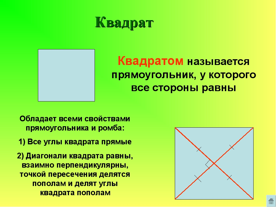 Квадрат Квадратом называется прямоугольник, у которого все стороны равны Обла...