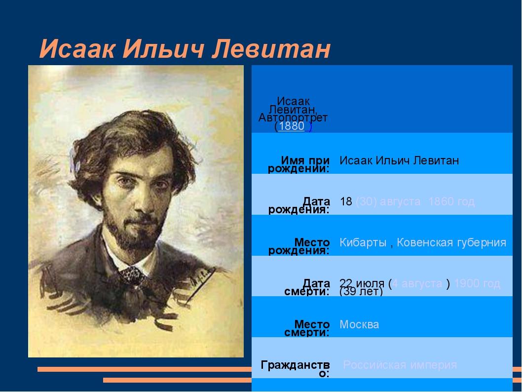 Исаак Ильич Левитан Исаак Левитан, Автопортрет (1880 ) Имя при рождении:Иса...