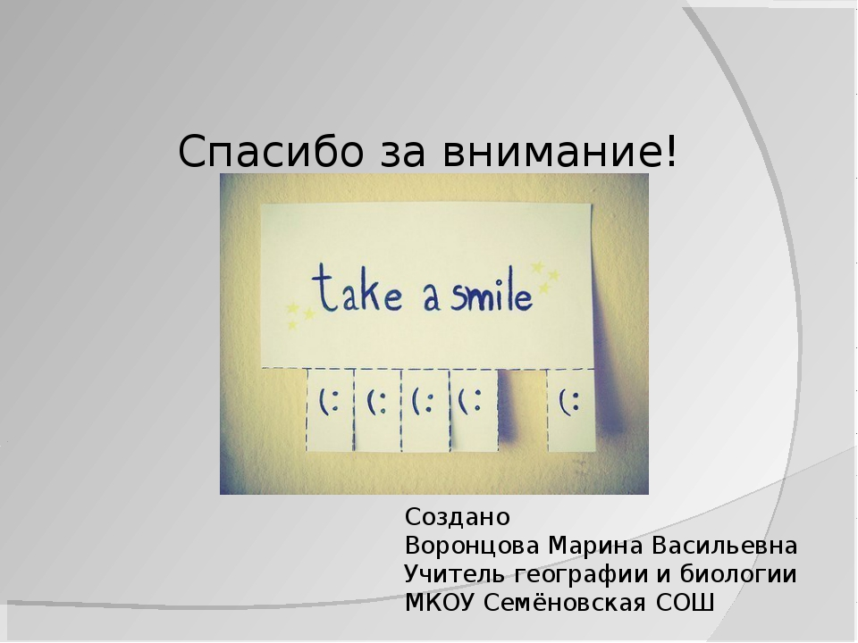 Спасибо за внимание! Создано Воронцова Марина Васильевна Учитель географии и...