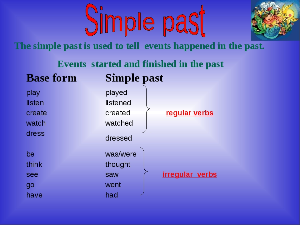 The simple past is used to tell events happened in the past. Events started a...