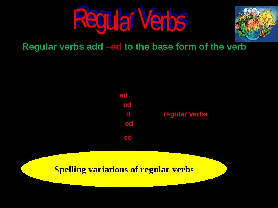 Regular verbs add –ed to the base form of the verb Spelling variations of reg...
