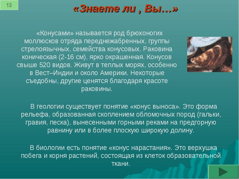 «Знаете ли , Вы…» «Конусами» называется род брюхоногих моллюсков отряда перед...