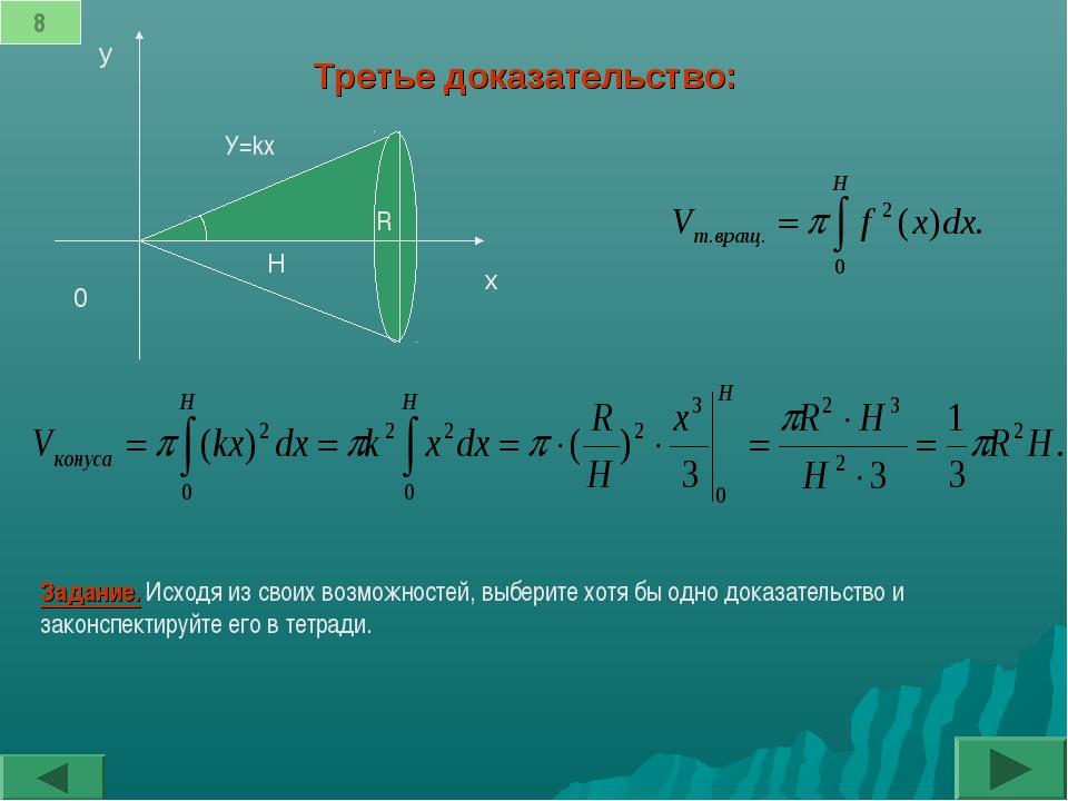 Третье доказательство: 0 x y H y=kx α 8 α R У=kx Задание. Исходя из своих воз...