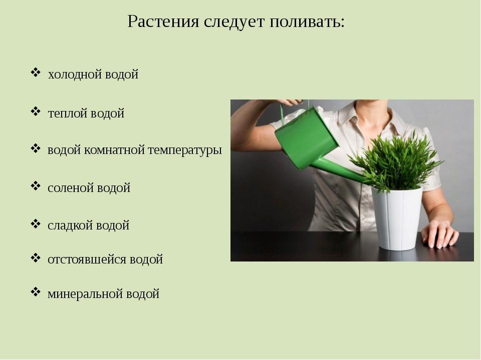 Растения следует поливать: холодной водой теплой водой водой комнатной темпер...