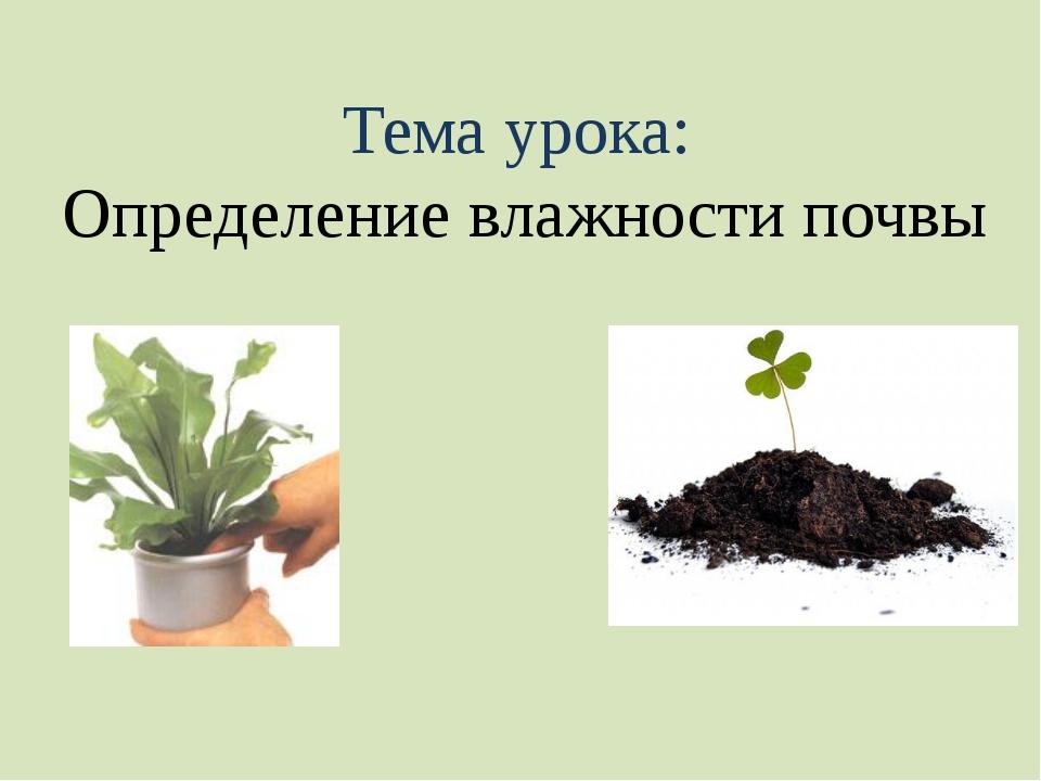 Тема урока: Определение влажности почвы