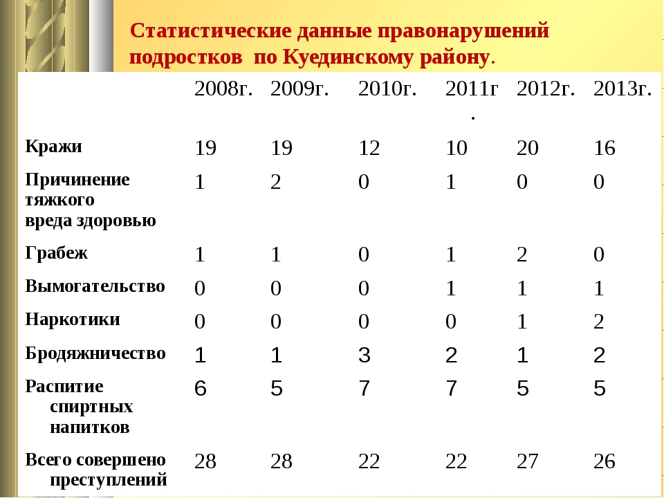 Статистические данные правонарушений подростков по Куединскому району. 2008г...