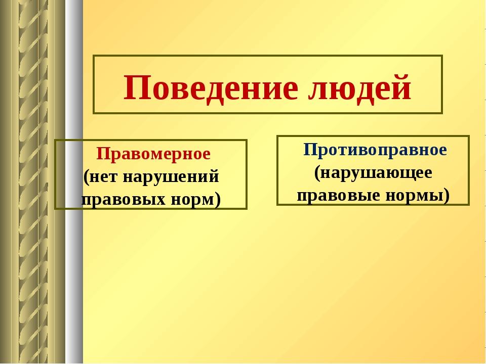 Поведение людей Правомерное (нет нарушений правовых норм) Противоправное (на...