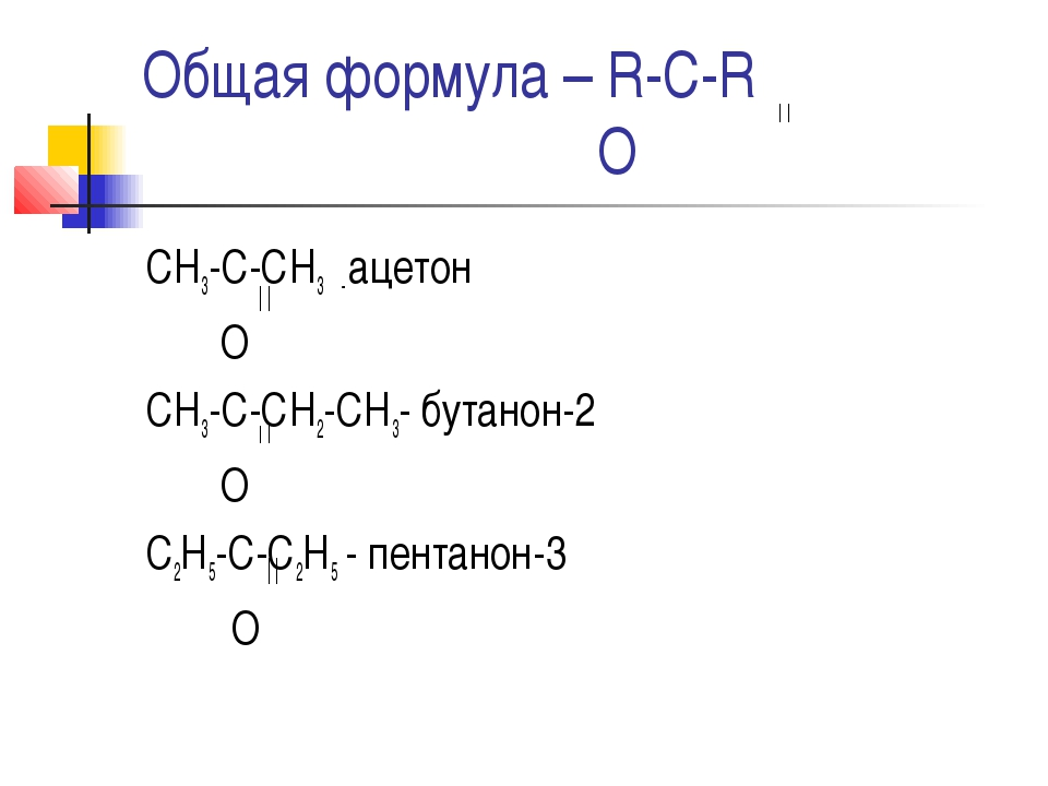 Общая формула – R-C-R О СН3-С-СН3 - ацетон О СН3-С-СН2-СН3- бутанон-2 О С2Н5-...
