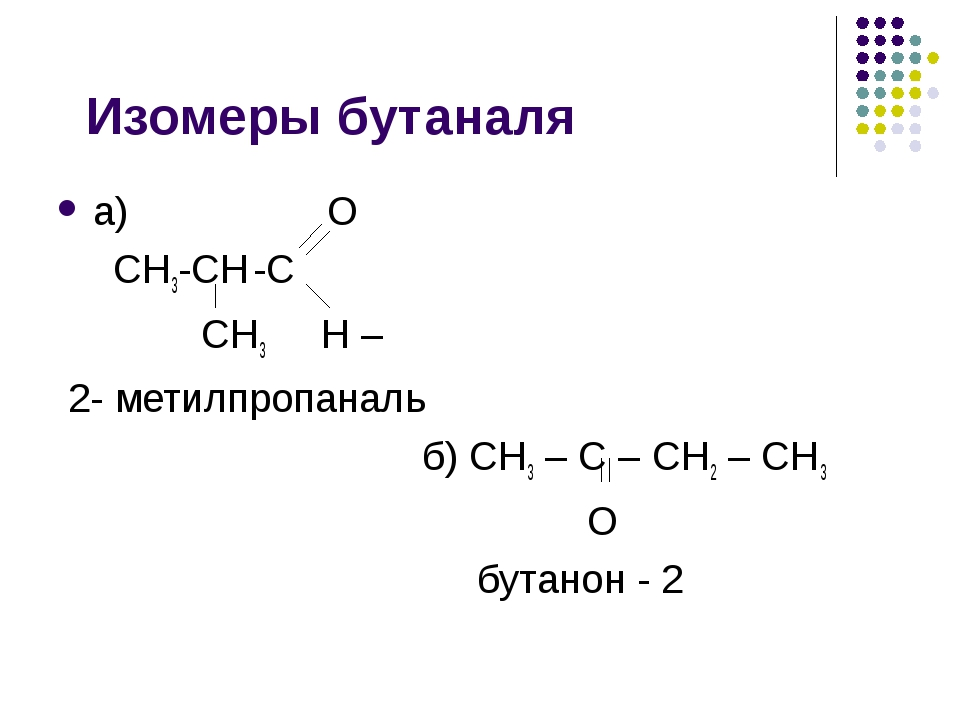 Изомеры бутаналя а) О СН3-СН -С СН3 Н – 2- метилпропаналь б) СН3 – С – СН2 –...