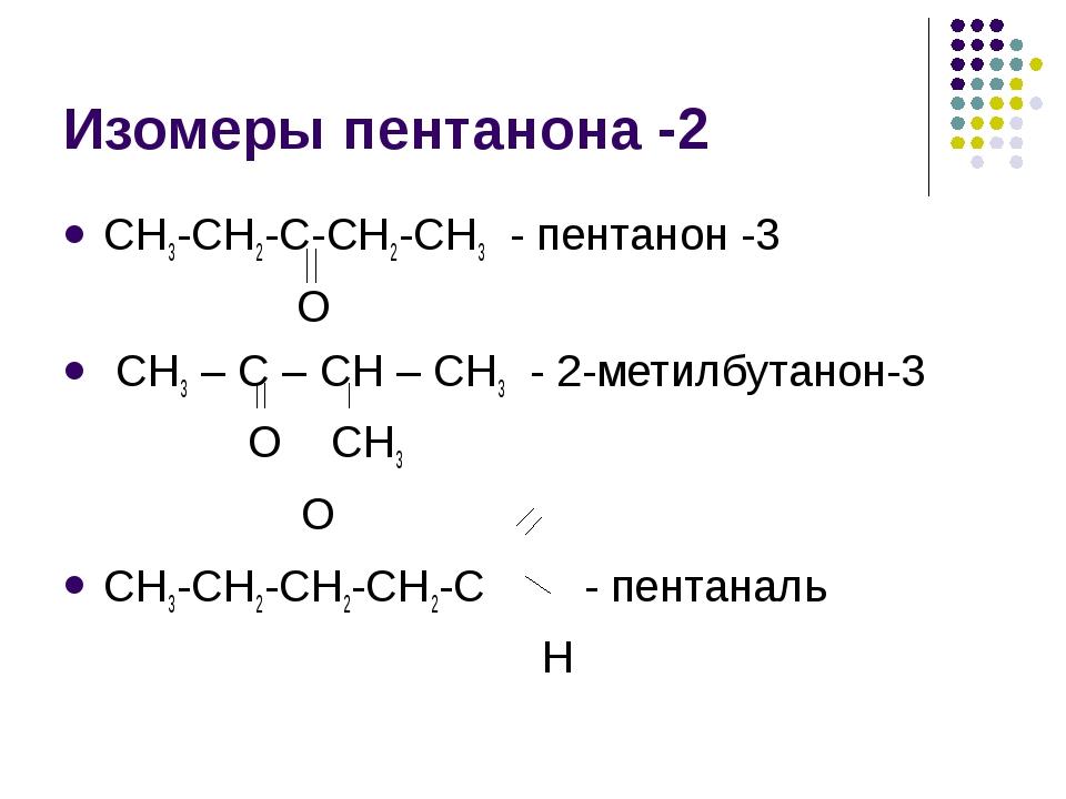 Изомеры пентанона -2 СН3-СН2-С-СН2-СН3 - пентанон -3 О СН3 – С – СН – СН3 - 2...