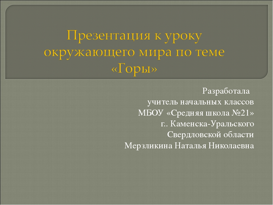 Разработала учитель начальных классов МБОУ «Средняя школа №21» г.. Каменска-У...