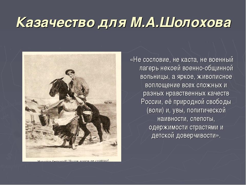 Казачество для М.А.Шолохова  «Не сословие, не каста, не военный лагерь некое...