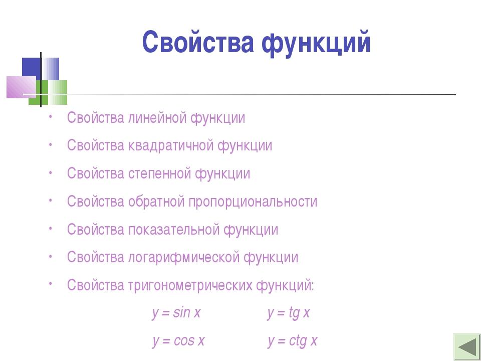 Свойства функций Свойства линейной функции Свойства квадратичной функции Свой...