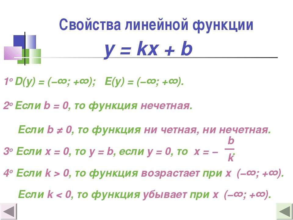 Свойства линейной функции 1о D(y) = (−∞; +∞); E(y) = (−∞; +∞). 2о Если b = 0,...