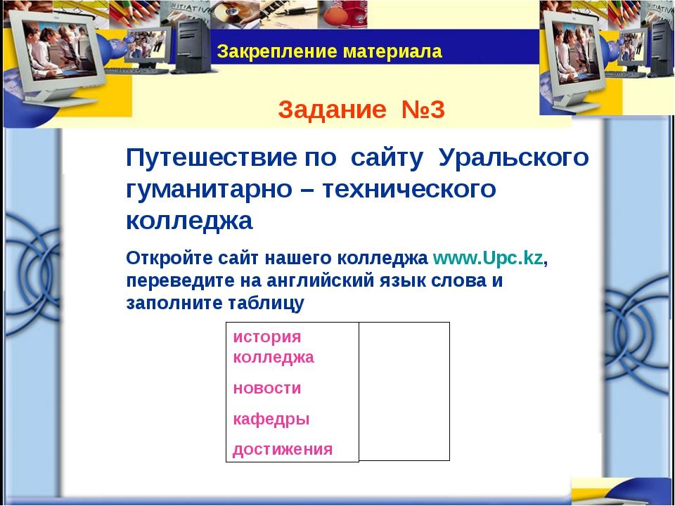Задание №3 Путешествие по сайту Уральского гуманитарно – технического колледж...