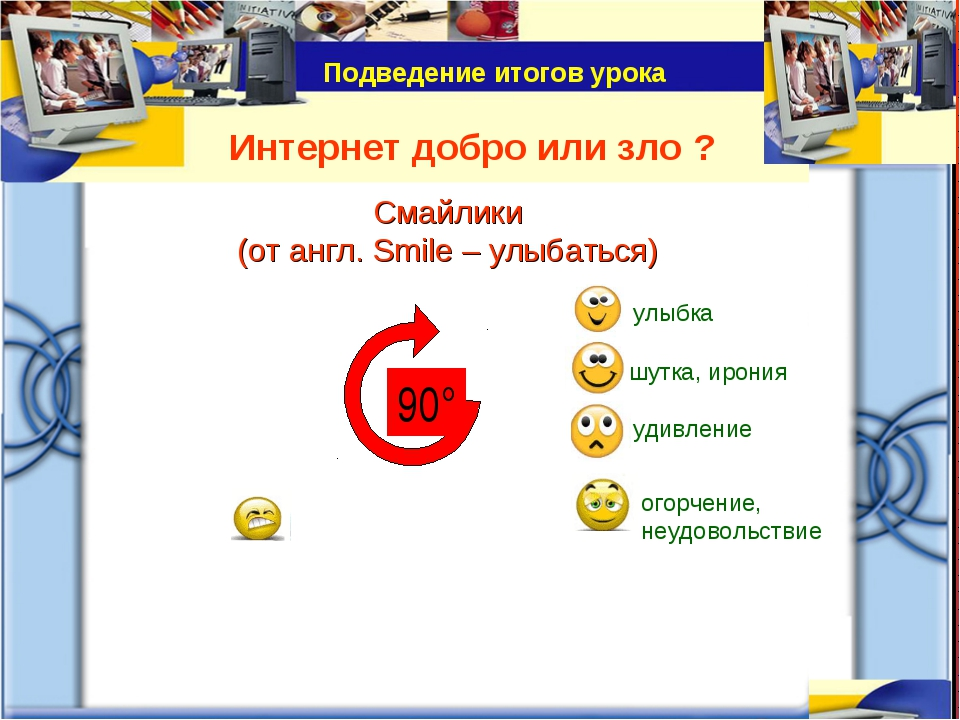 Интернет добро или зло ? Подведение итогов урока Смайлики (от англ. Smile – у...