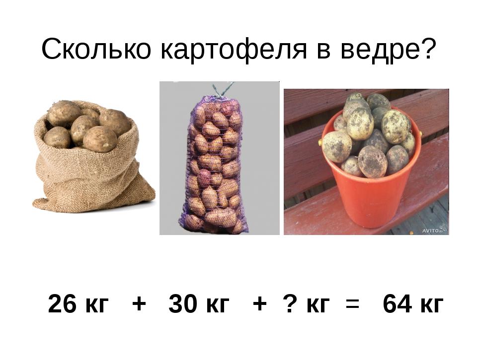 Сколько картофеля в ведре? 26 кг + 30 кг + ? кг = 64 кг