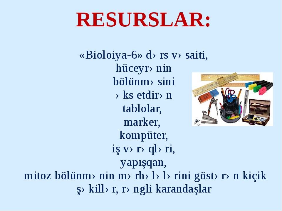«Bioloiya-6» dərs vəsaiti, hüceyrənin bölünməsini əks etdirən tablolar, mark...