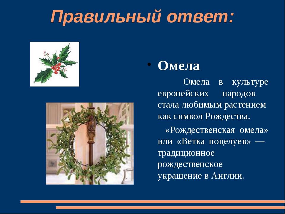Правильный ответ: Омела  Омела в культуре европейских народов стала любимым...